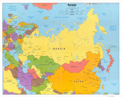 Detailed political map of Eurasia - 2006.