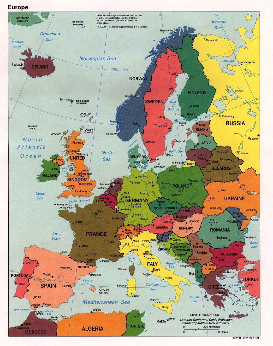 Maps of Europe Map of Europe in English Political