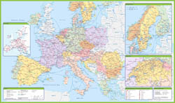 Large detailed map of railroads of Europe.