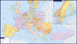 Large railways map of Europe.