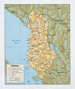Detailed political and administrative map of Albania with roads and relief.