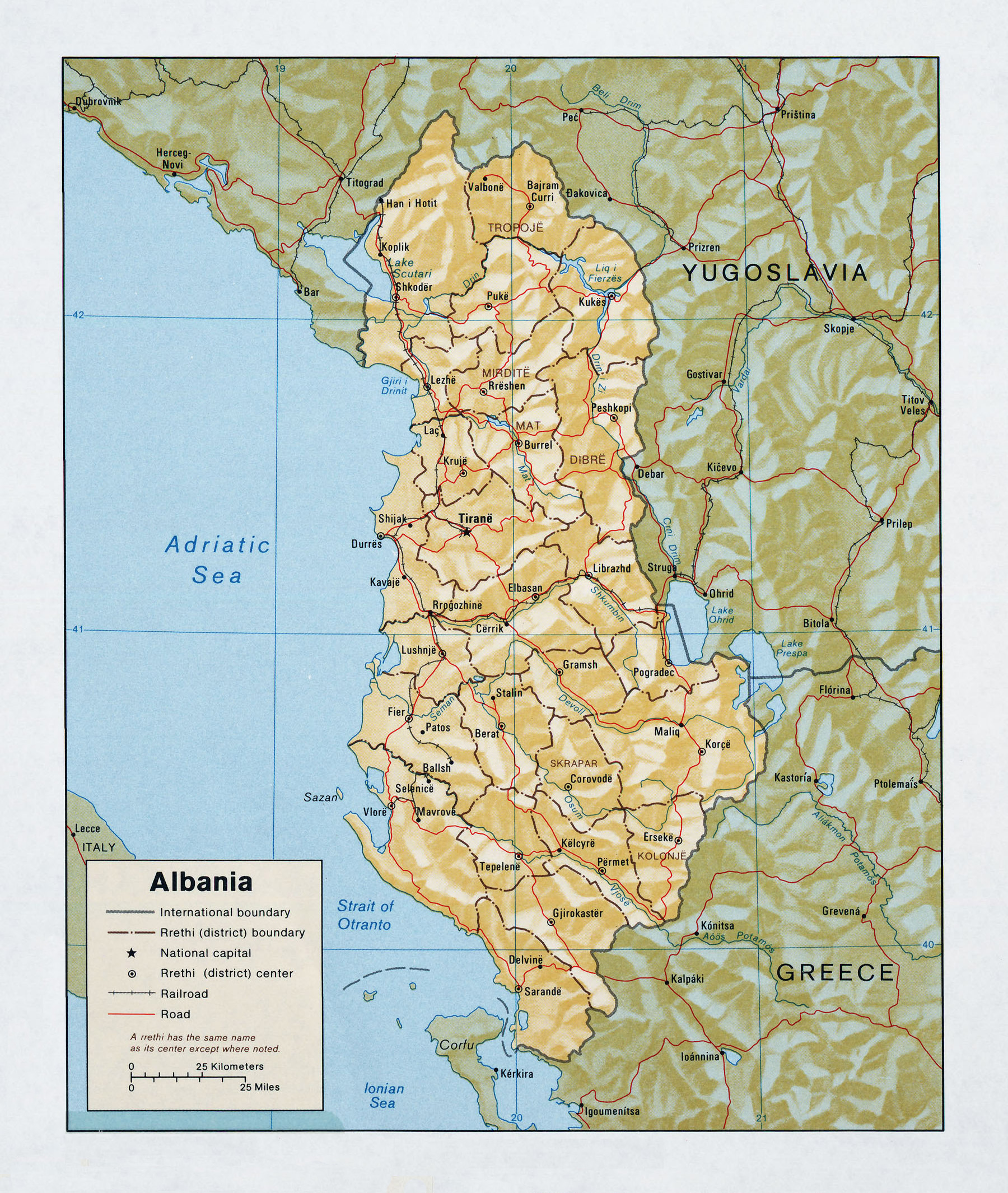 maps of albania albania detailed map in english. Black Bedroom Furniture Sets. Home Design Ideas