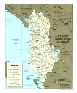 Political and administrative map of Albania.