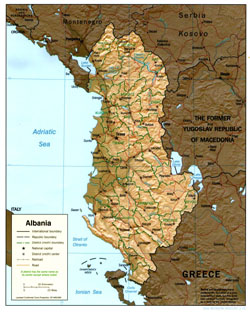 Political and administrative map of Albania with relief.
