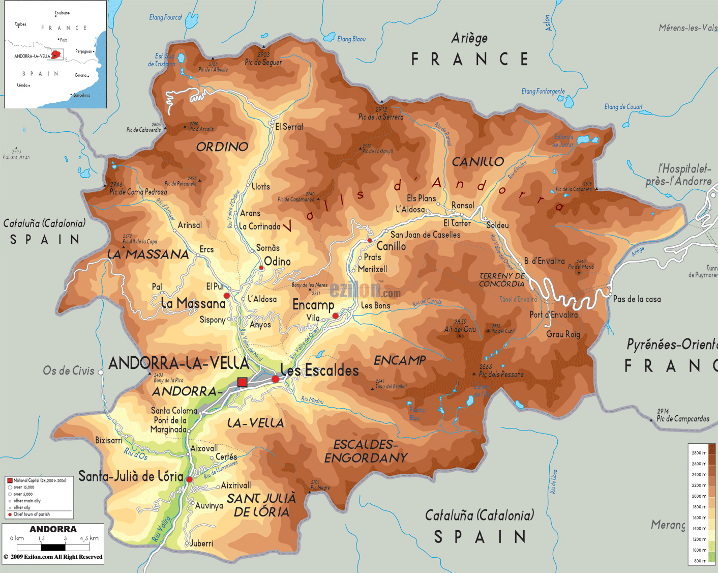 Maps of Andorra Detailed map of Andorra in English Travel map