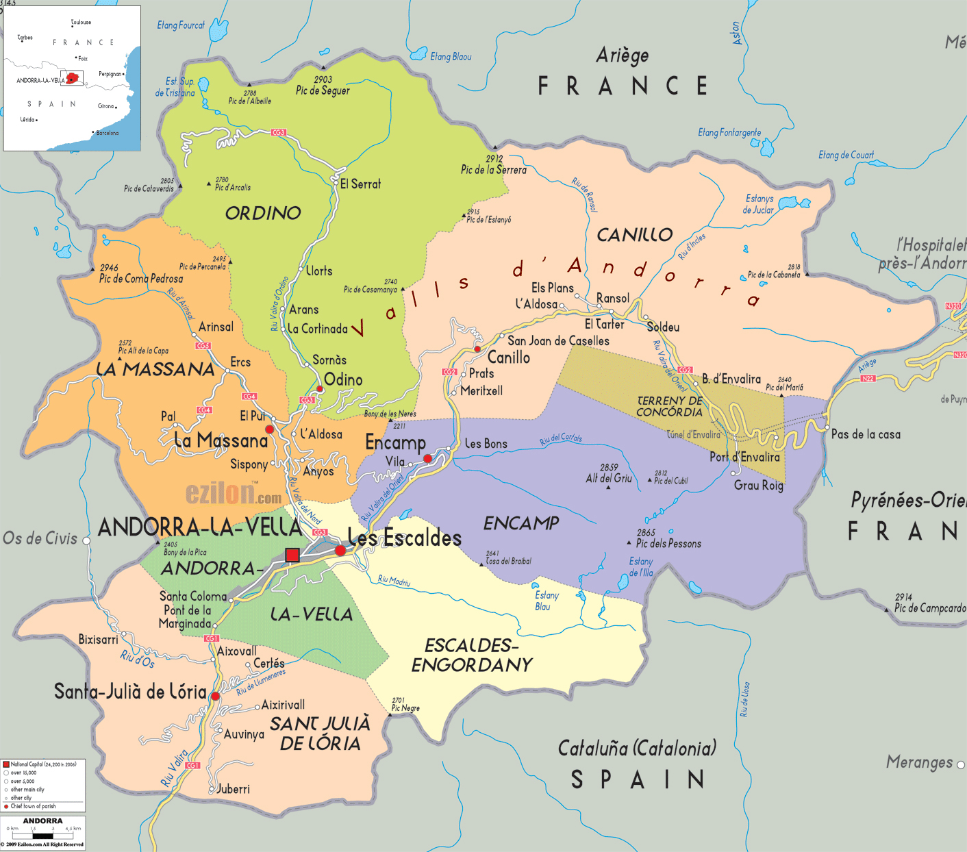 Political Map Of Andorra.