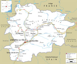 Road map of Andorra.