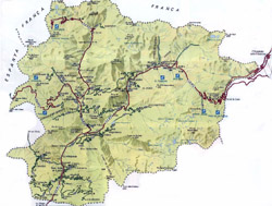 Road map of Andorra with relief.