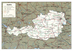 Detailed political and administrative map of Austria with cities and roads.