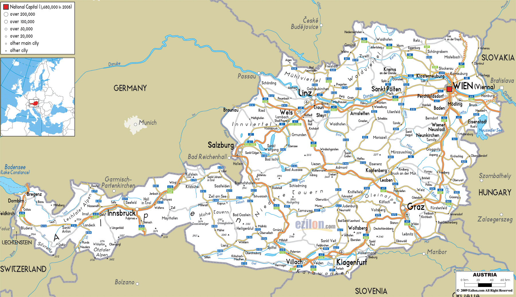 Maps of Austria Detailed map of Austria in English Tourist map