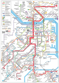 Detailed public transportation map of Linz city.
