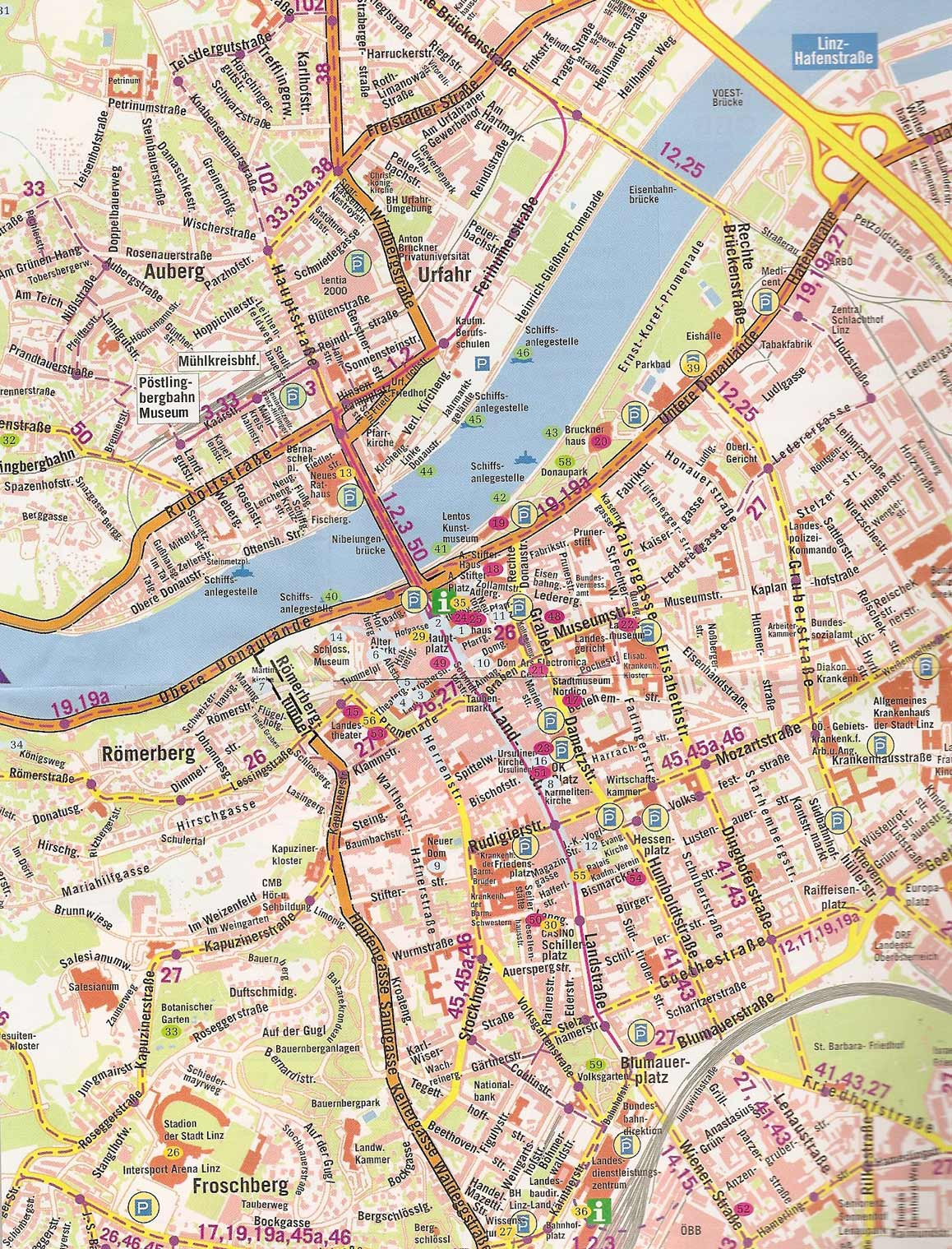Maps of Linz Detailed map of Linz in English Maps of Linz