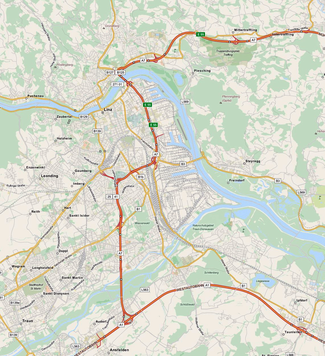 Linz: Detailed Map Of Linz In English