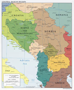 Large detailed political map of Central Balkan Region with major cities - 2008.