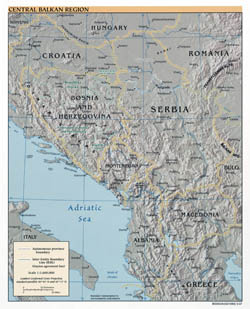 Large detailed political map of Central Balkan Region with relief and major cities - 2007.