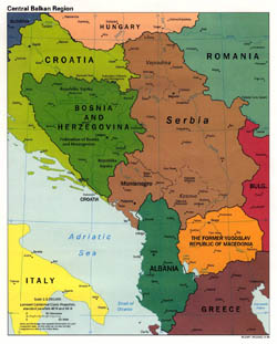 Large political map of Central Balkan Region with cities - 1998.