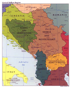 Large political map of Central Balkan Region with major cities - 2003.