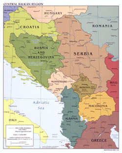 Large political map of Central Balkan Region with major cities - 2008.