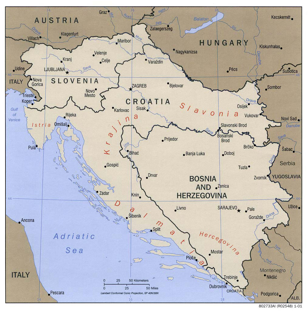 Large Political Map Of Western Balkans With Major Cities 2001