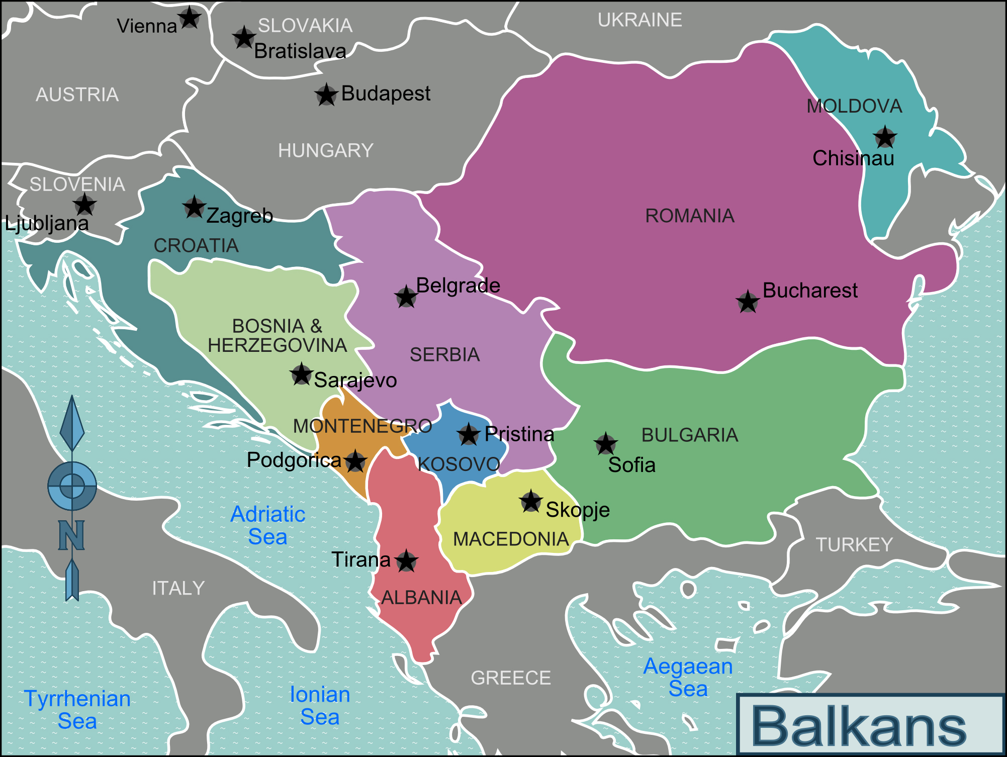 Maps of Balkans  Detailed Political Relief Road and other maps