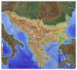 Large topographical map of Balkans.