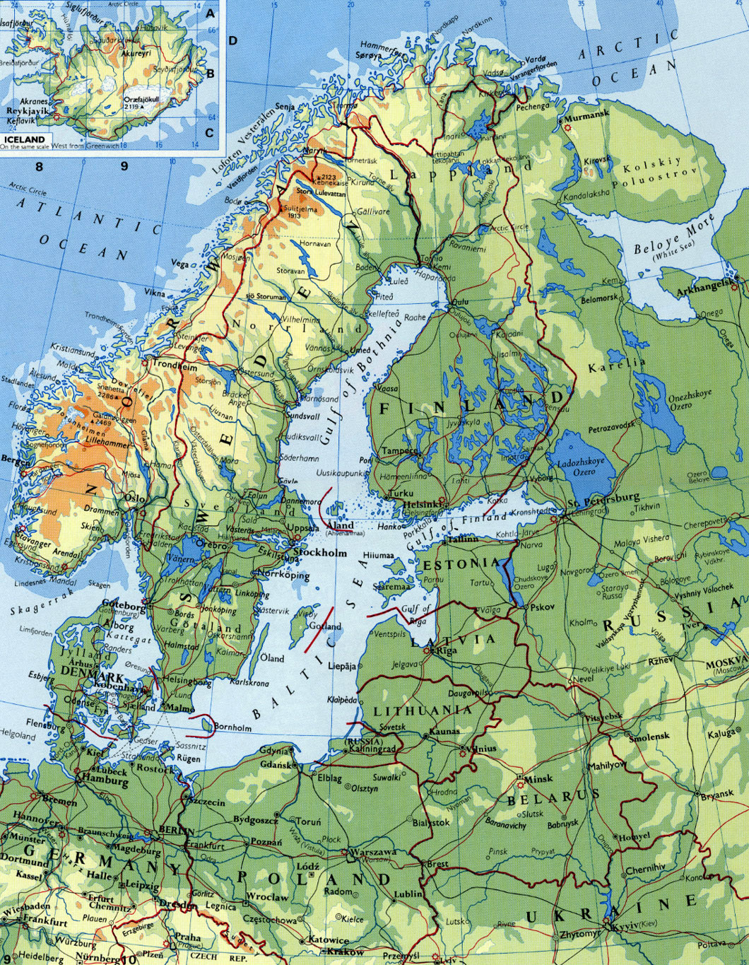 Maps of Baltic and Scandinavia Detailed Political Relief Road