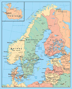 Detailed political map of Scandinavia.