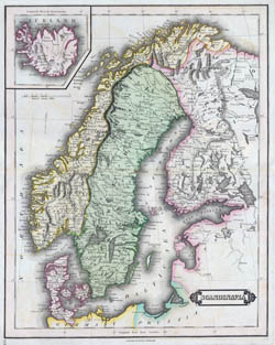 Large detailed old map of Scandinavia - 1840.