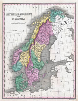 Large detailed old political map of Scandinavia - 1827.