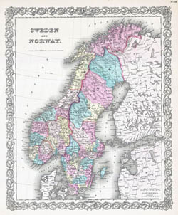 Large detailed old political map of Sweden and Norway with relief - 1855.