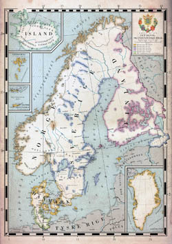 Large old map of Scandinavia.