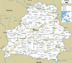 Detailed road map of Belarus with cities and airports.