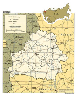 Political and administrative map of Belarus and border countries.