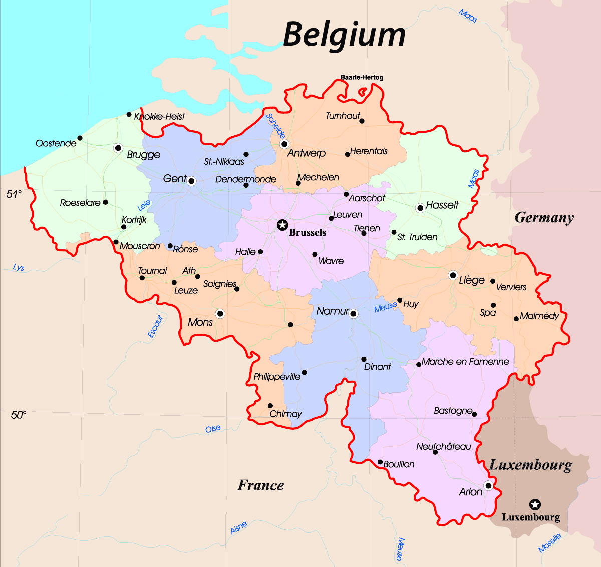 Maps of Belgium Detailed map of Belgium in English Tourist map