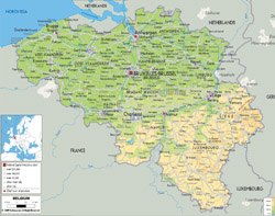 Detailed physical map of Belgium with roads, cities and airports.