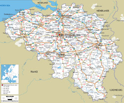 Detailed road map of Belgium with cities and airports.