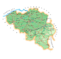 Detailed road map of Belgium with cities.