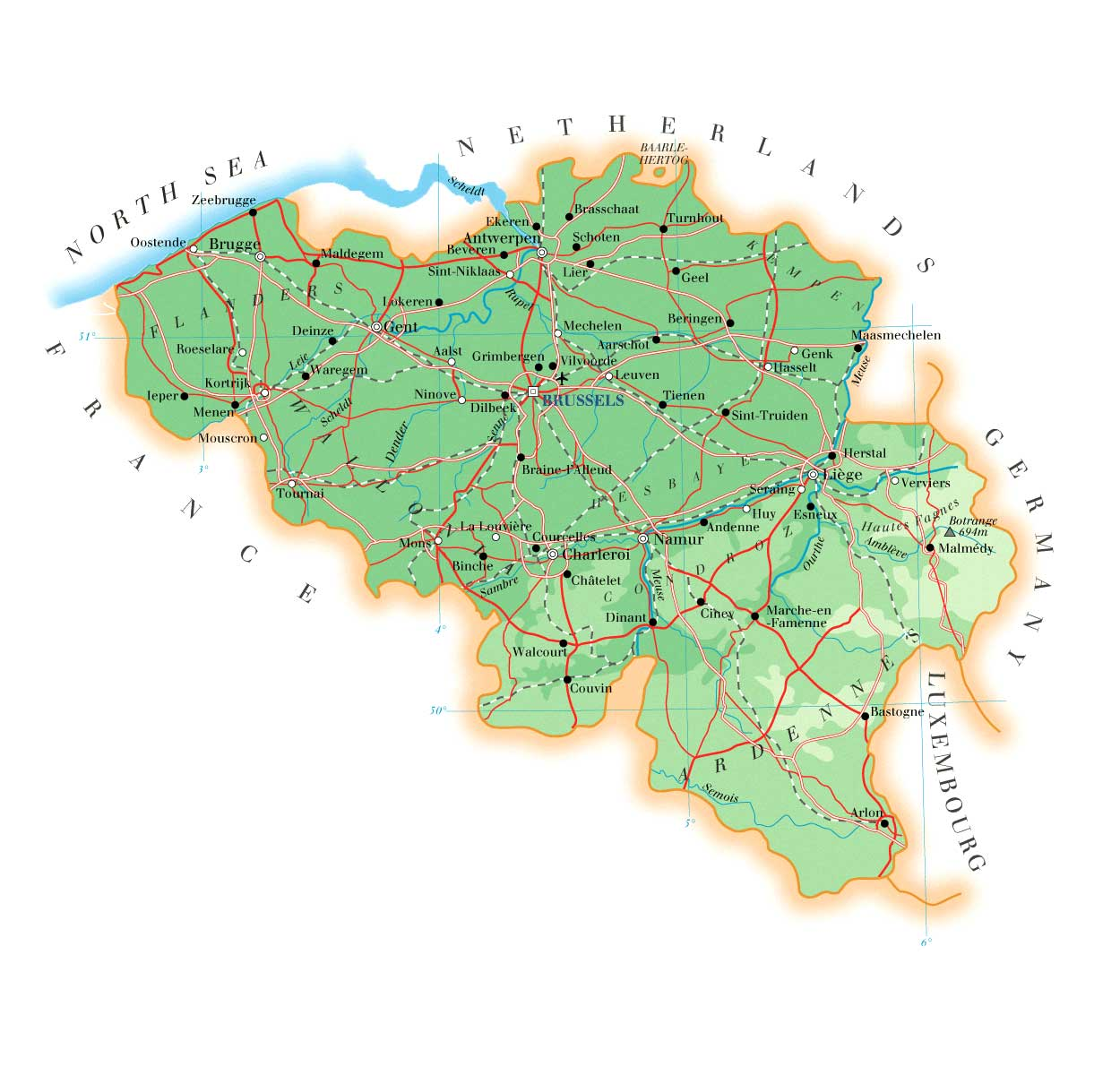 Maps of Belgium Detailed map of Belgium in English – Map of Belgium with Cities