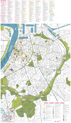 Large scale detailed tourist map of Antwerpen city.