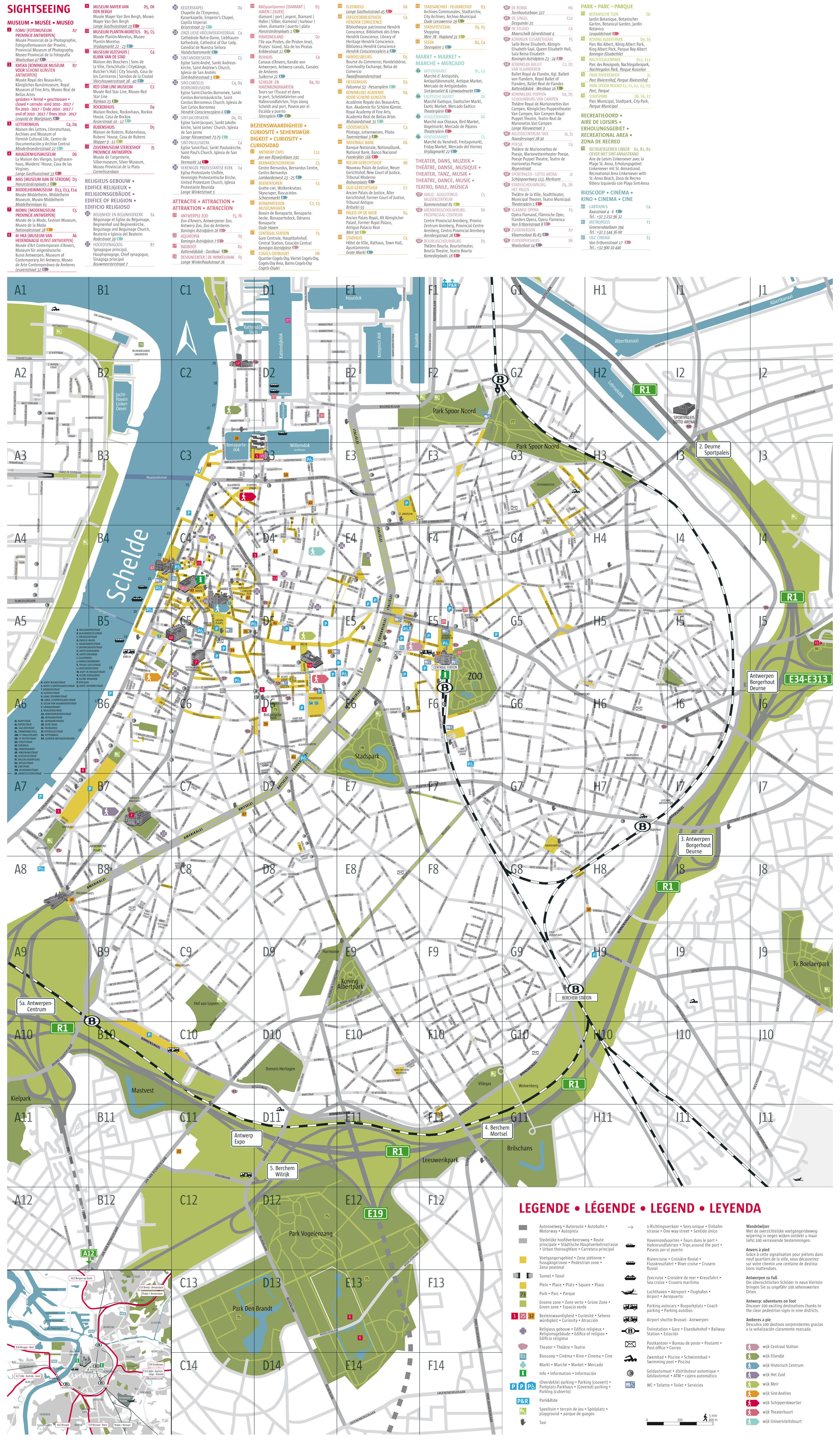 Maps of Antwerp Detailed map of Antwerpen in English Maps of