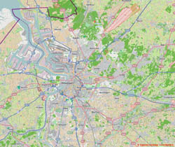 Road map of Antwerp and the surrounding area.