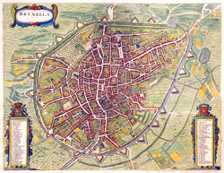 Large detailed old map of Brussels city - 1657.