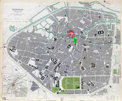 Large detailed old map of Brussels city - 1837.