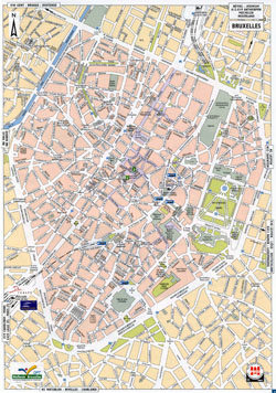 Large detailed road map of Brussels city.
