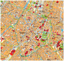 Tourist map of Brussels city center.