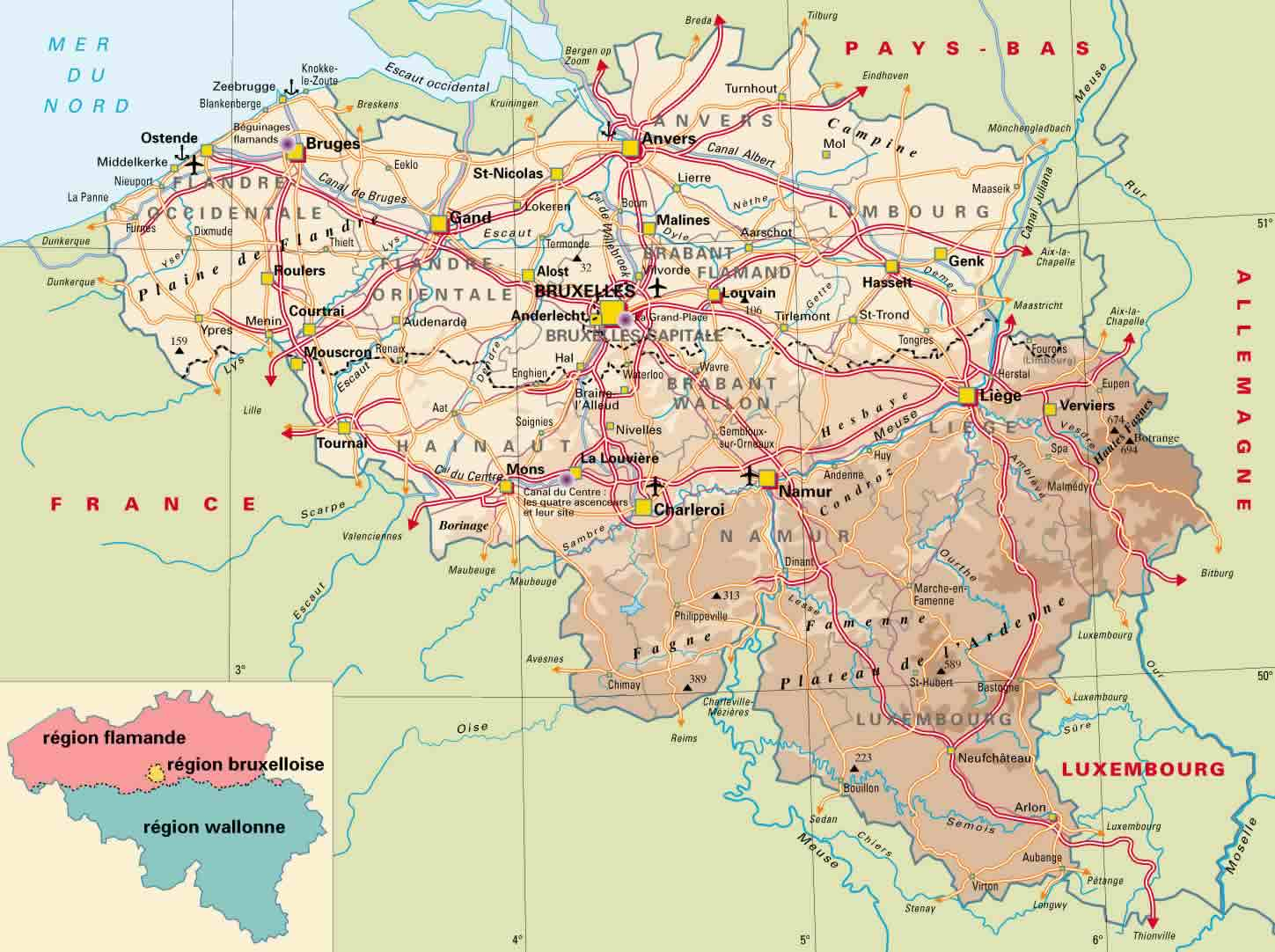 physical map of belgium with roads and cities and airports