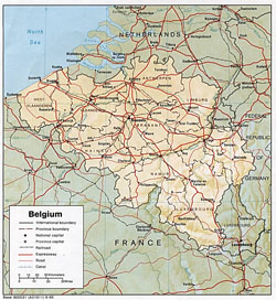 Political and administrative map of Belgium with relief.