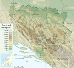 Detailed physical map of Bosnia and Herzegovina.