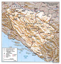 Political and administrative map of Bosnia and Herzegovina with relief.