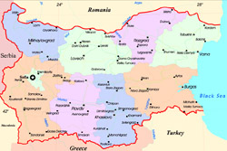 Detailed administrative map of Bulgaria.
